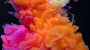 Превью обои дым, сгустки, цветной дым, оранжевый, розовый
