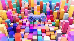 Превью обои джойстик, геймпад, кубы, 3d, объем, разноцветный