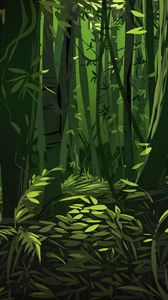 Превью обои джунгли, деревья, листья, растения, арт, зеленый