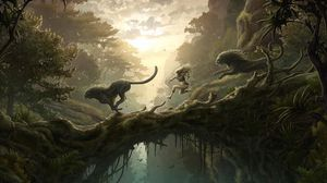 Превью обои джунгли, девушка, львы, прыжок, мост