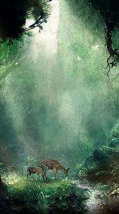 Превью обои джунгли, фэнтези, олени, бабочки, ночь, деревья