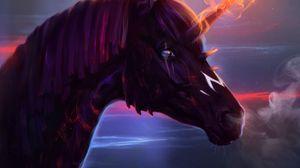 Превью обои единорог, конь, арт, огонь