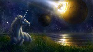 Превью обои единорог, ночь, космос, планеты, столкновение