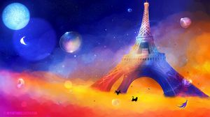 Превью обои эйфелева башня, арт, кот, птица, разноцветный