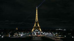 Превью обои эйфелева башня, париж, ночной город, огни города, франция