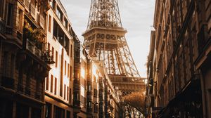 Превью обои эйфелева башня, здание, архитектура, улица, город, париж