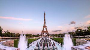 Превью обои эйфелева башня, париж, золотой вечер, франция, фонтан
