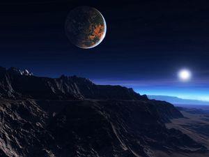 Превью обои экзопланета, атмосфера, облака, звезда, спутник, мгла, горы, скалы