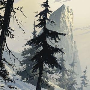 Превью обои ель, арт, лес, зима, ветки