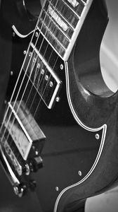 Превью обои электрогитара, гитара, музыка, черно-белый