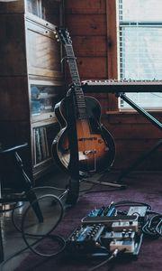 Превью обои электрогитара, гитара, синтезатор, музыкальные инструменты, музыка, эстетика