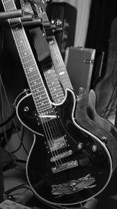 Превью обои электрогитары, гитары, музыка, черно-белый