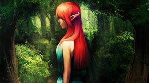 Превью обои эльф, девушка, лес, зелень