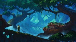 Превью обои эльф, лучник, лес, деревья, фэнтези, арт