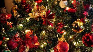 Превью обои елка, игрушки, гирлянда, праздник, новый год, рождество