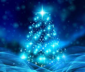 Превью обои елка, рождество, новый год, блеск, искры