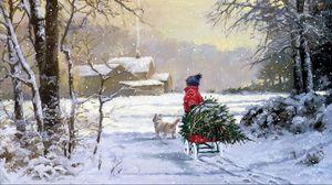 Превью обои елка, сани, зима, картина, человек, дом, дым