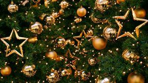 Превью обои елка, украшения, шары, звезды, золото, новый год, рождество, праздник