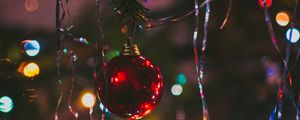Превью обои елочная игрушка, шар, ель, новый год, рождество