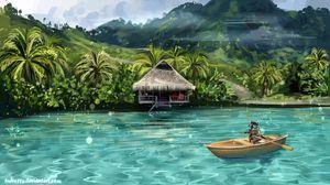 Превью обои енот, лодка, вода, забавный, арт