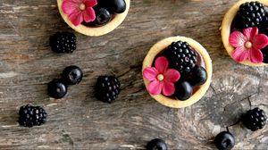 Превью обои ежевика, ягоды, цветы, пирожные, оформление