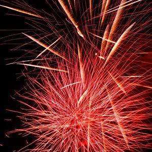 Превью обои фейерверк, искры, взрыв, свет, красный