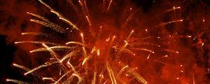 Превью обои фейерверк, взрыв, искры, дым, красный, темный