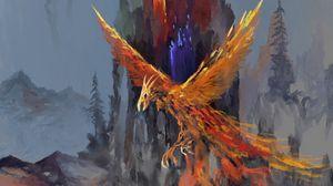 Превью обои феникс, птица, фэнтези, арт
