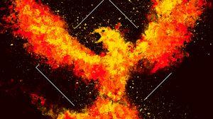 Превью обои феникс, птица, огонь, арт, квадрат
