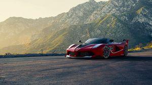 Превью обои ferrari, supercar, спорткар, красный, горы