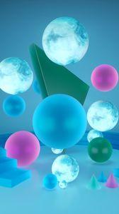 Превью обои фигуры, геометрический, 3d, шары, сферы