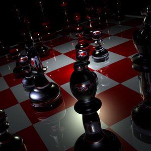 Превью обои фигуры, шахматы, доска, стекло