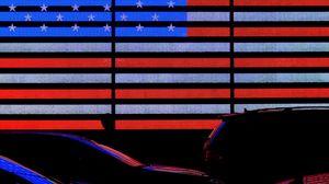 Превью обои флаг, америка, неон, автомобили