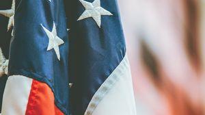 Превью обои флаг, америка, символика, ткань, размытость