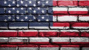 Превью обои флаг, америка, сша, символика, стена, кирпичный, краска