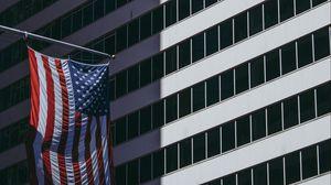 Превью обои флаг, фасад, здание, сша