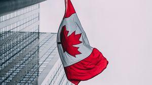 Превью обои флаг, канада, здания, небоскребы, флагшток