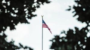 Превью обои флаг, сша, здание, деревья