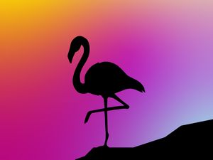 Превью обои фламинго, силуэт, вектор, арт