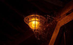Превью обои фонарь, свет, паутина, темный