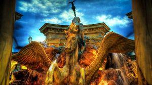 Превью обои фонтан, пегас, город, hdr