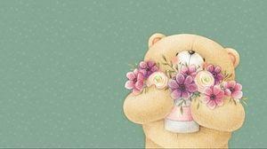 Превью обои forever friends deckchair bear, мишка, цветы, арт