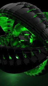 Превью обои форма, зеленый, тень, темный