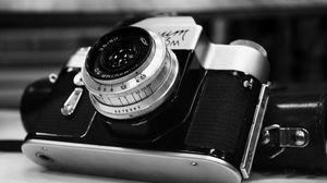 Превью обои фотоаппарат, старинный, дизайн, чб