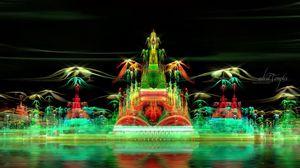 Превью обои фрактал, город, воображение, зеленый, дым, иллюзия