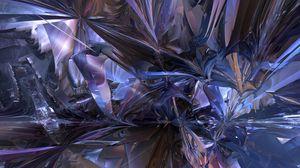 Превью обои фрактал, хаос, абстракция, синий