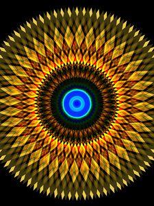 Превью обои фрактал, круги, фигуры, абстракция, желтый