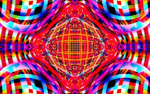 Превью обои фрактал, линии, калейдоскоп, разноцветный, абстракция
