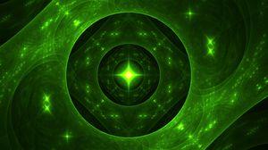 Превью обои фрактал, свечение, блики, зеленый, абстракция