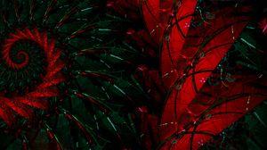 Превью обои фрактал, узор, абстракция, красный, зеленый